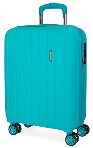 Movom Wood Maleta de cabina Azul 40x55x20 cms Rígida ABS Cierre TSA 38L 2,9Kgs 4 Ruedas Dobles Equipaje de Mano