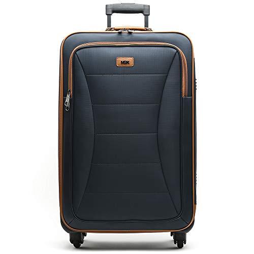 MISAKO Maleta Grande de Viaje Leslie Unisex Azul | Maleta Elegante de Nylon Blanda | 77x46x26cm | Maleta Grande para Viajes | 4 Ruedas | Semirígida - 3KG