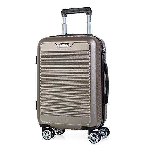 ITACA - Maleta de Viaje Rígida 4 Ruedas Trolley 55 cm abs Texturizado. Equipaje de Mano. Dura y Ligera. Mango Asas Candado. Vuelos Low Cost Ryanair. T72050, Color Dorado