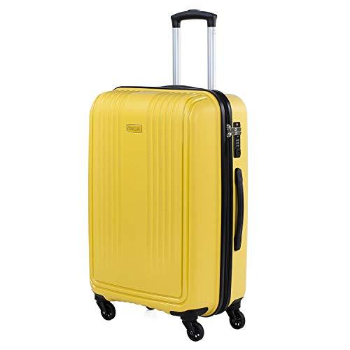 ITACA - Maleta de Viaje Rígida de Polipropileno PP con Cerradura de Seguridad con Combinación TSA con 4 Ruedas, Ligera y Resistente Tamaño Mediana 760360, Color Mostaza
